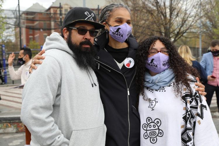 Maya Wiley side-hugs supporters