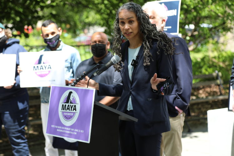 Maya Wiley speaking at a rally