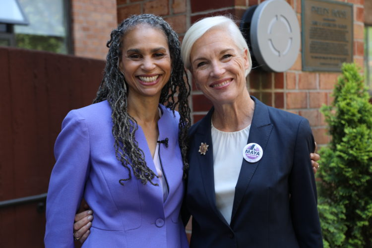 Maya Wiley smiling and looking at the camera with Cecile Richards