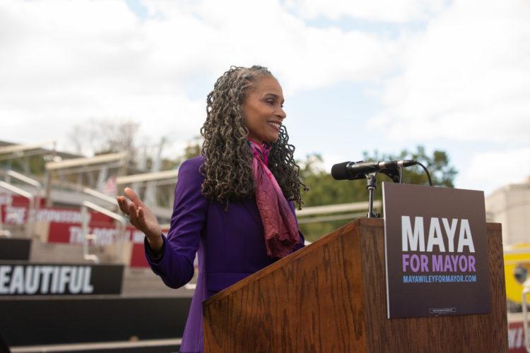 Maya speaking at a rally