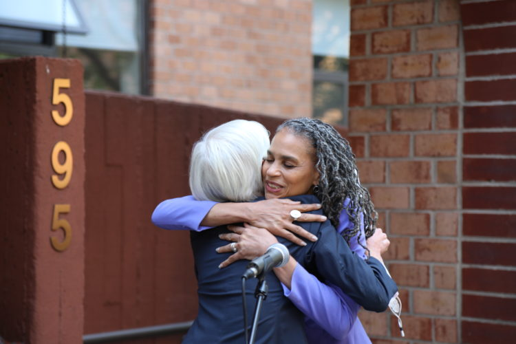 Maya Wiley hugs Cecile Richards