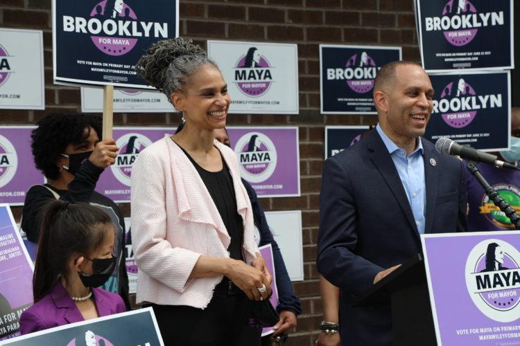 Maya Wiley, smiling, standing next to Rep. Hakeem Jeffries
