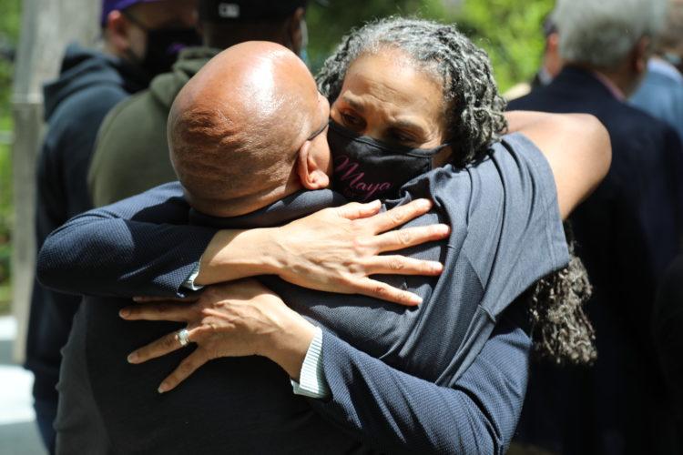 Maya Wiley hugs a supporter