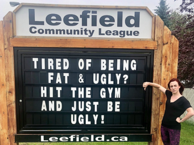 Woman outraged by sign greeting people in community: 'Tired of being fat and ugly Hit the gym and just be ugly