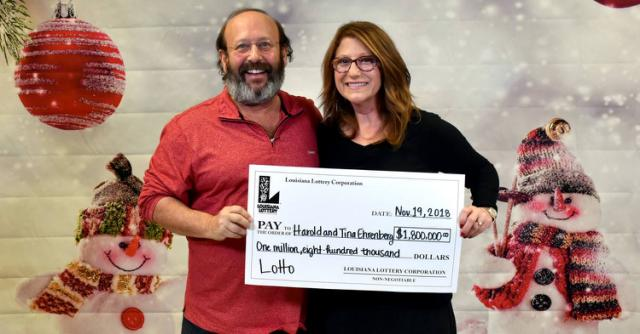 Couple finds winning $1.8M lottery ticket while cleaning house, claims prize two weeks before expiration