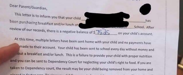 School district threatens parents their children could be 'placed in foster care' for unpaid lunch debts