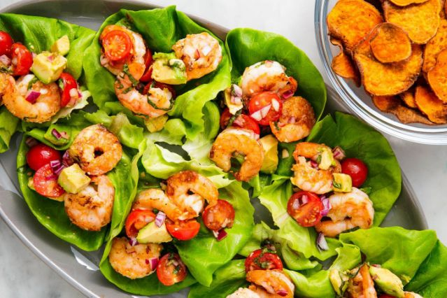 Basil Avocado Shrimp Salad Wraps