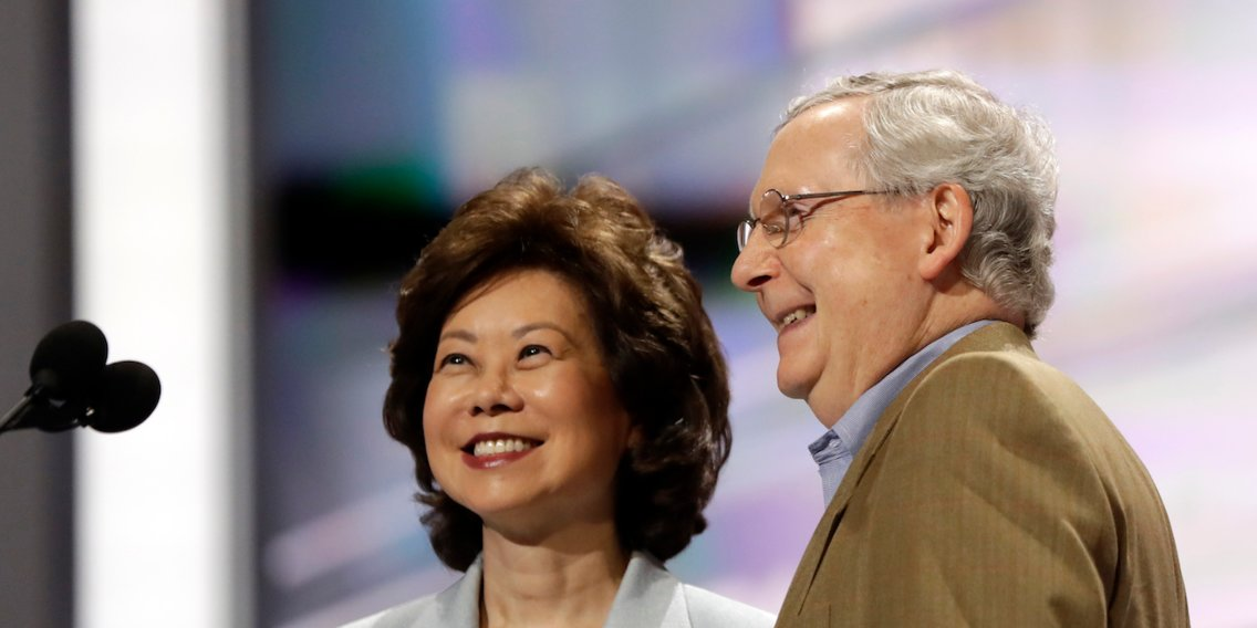 Transportation Secretary Elaine Chao reportedly steered $78 million in federal grants to Kentucky, her husband Sen. Mitch McConnell's home state