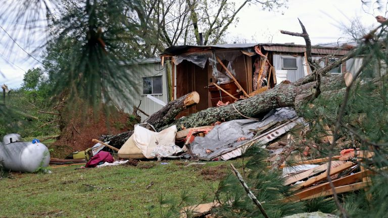 Strong storms in South kill at least 8 and injure dozens Two children were killed on a back road in East Texas when a pine tree fell onto the car in which they were riding in a severe thunderstorm near Pollok, about 150 miles southeast of Dallas