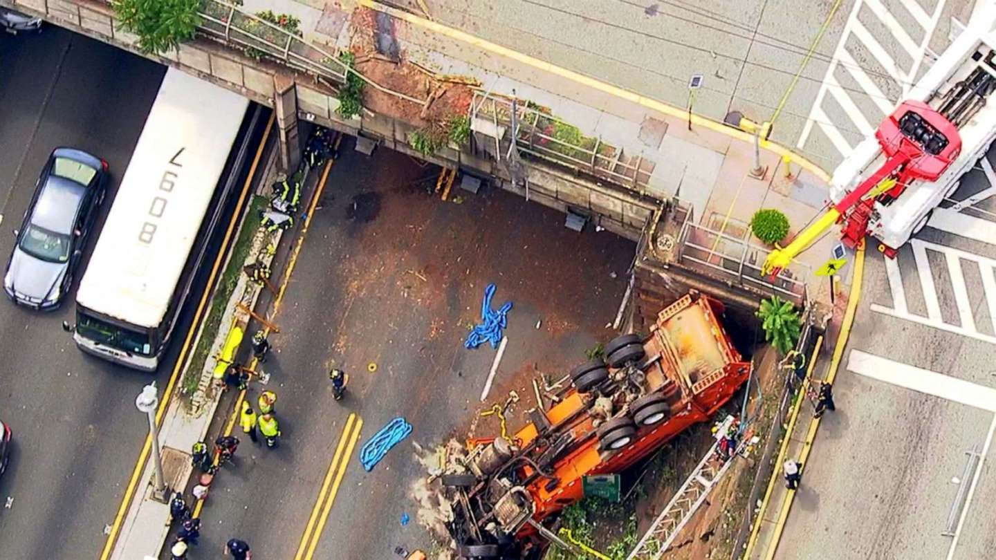 Garbage truck falls off of NYC area overpass, injuring at least 12
