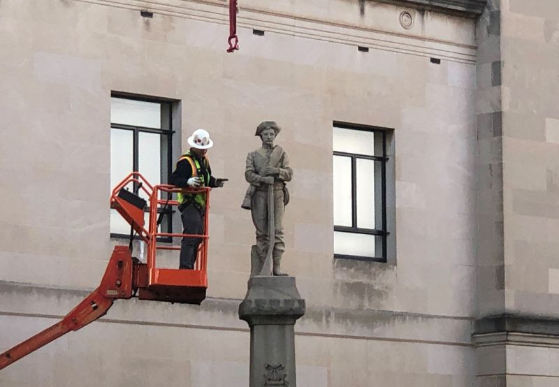 The Latest: Confederate statue removed from pedestal Workers in North Carolina have removed a statue of a Confederate soldier