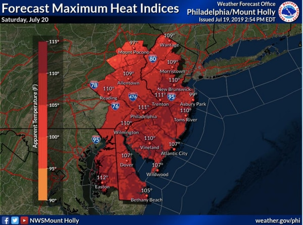 N.J. weather: It is  going to feel 115 degrees in some parts of New Jersey today