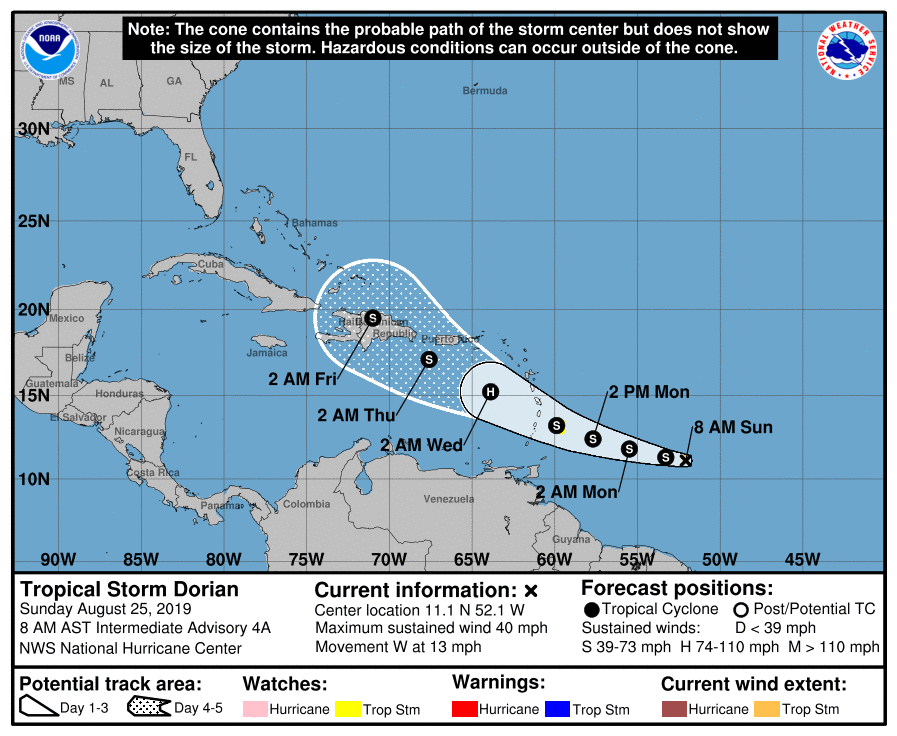 Tropical Storm Dorian 2019 on path for Caribbean by Tuesday