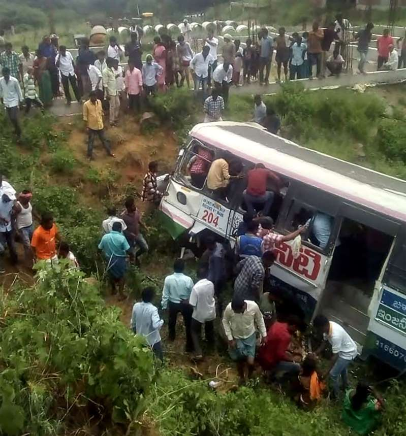 Indian bus plunges into valley, 43 dead