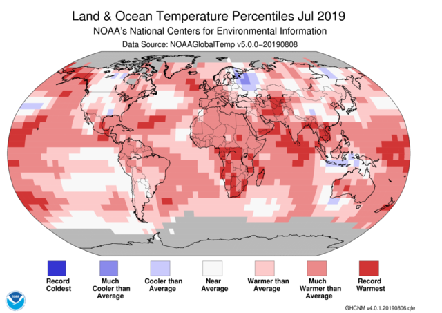 July is the hottest month on earth ever recorded in the history of temperature records