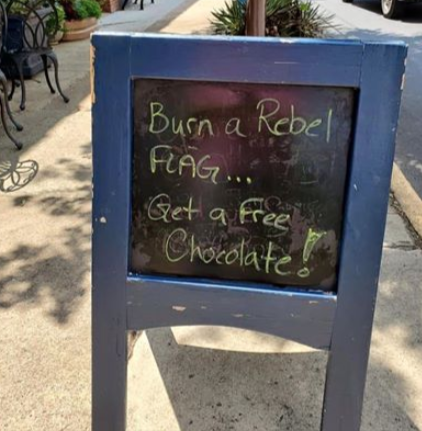 Store owner facing death threats over anti-Confederate flag sign: 'Burn a rebel flag get a free chocolate