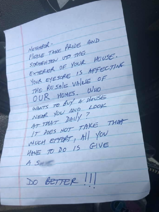 People help mom of 3-year-old fighting cancer after she receives rude note from neighbor about 'eyesore' house