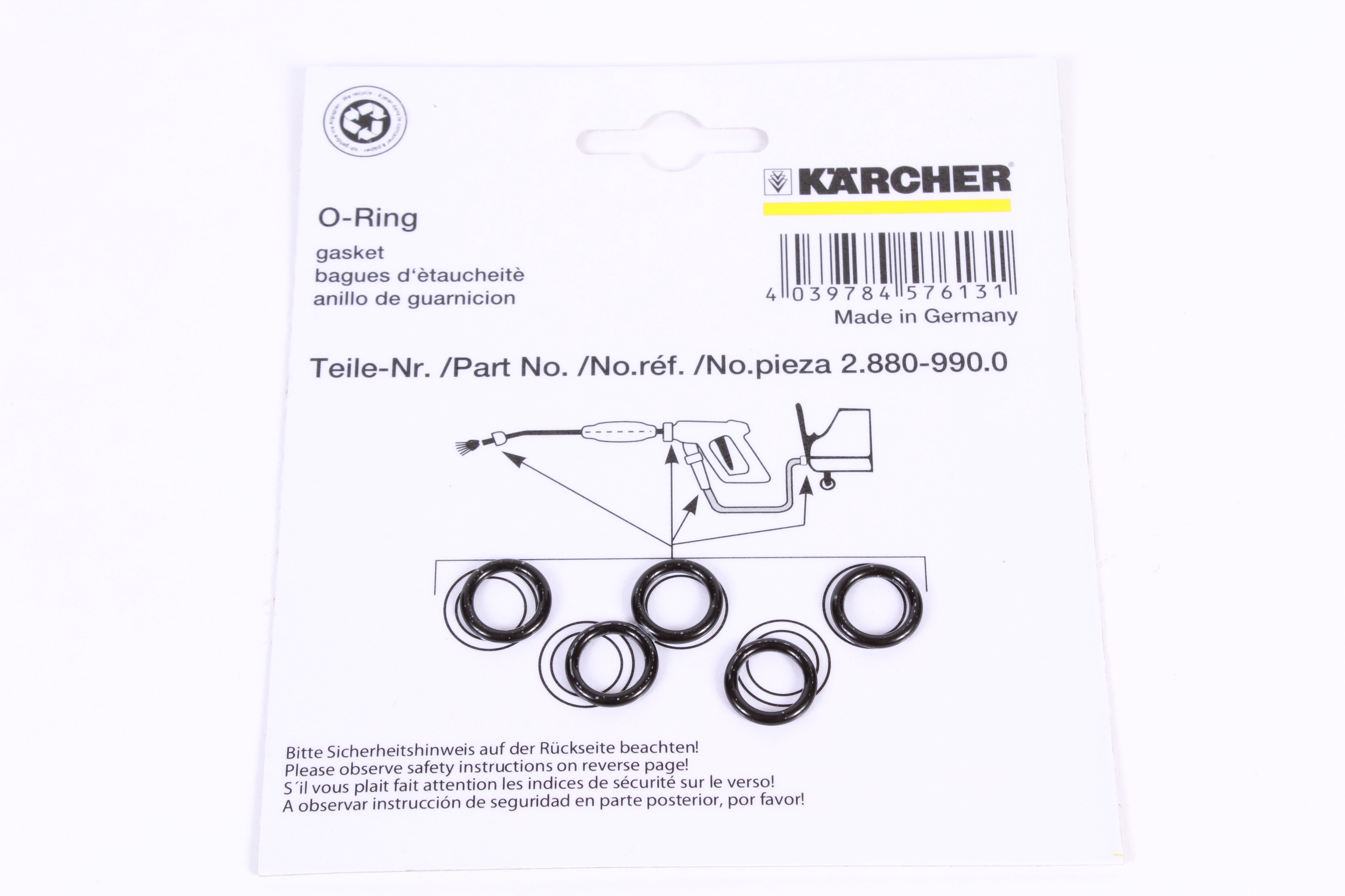 Karcher 2.880-154.0 Nozzle Replacement O-Rings 3 Pack