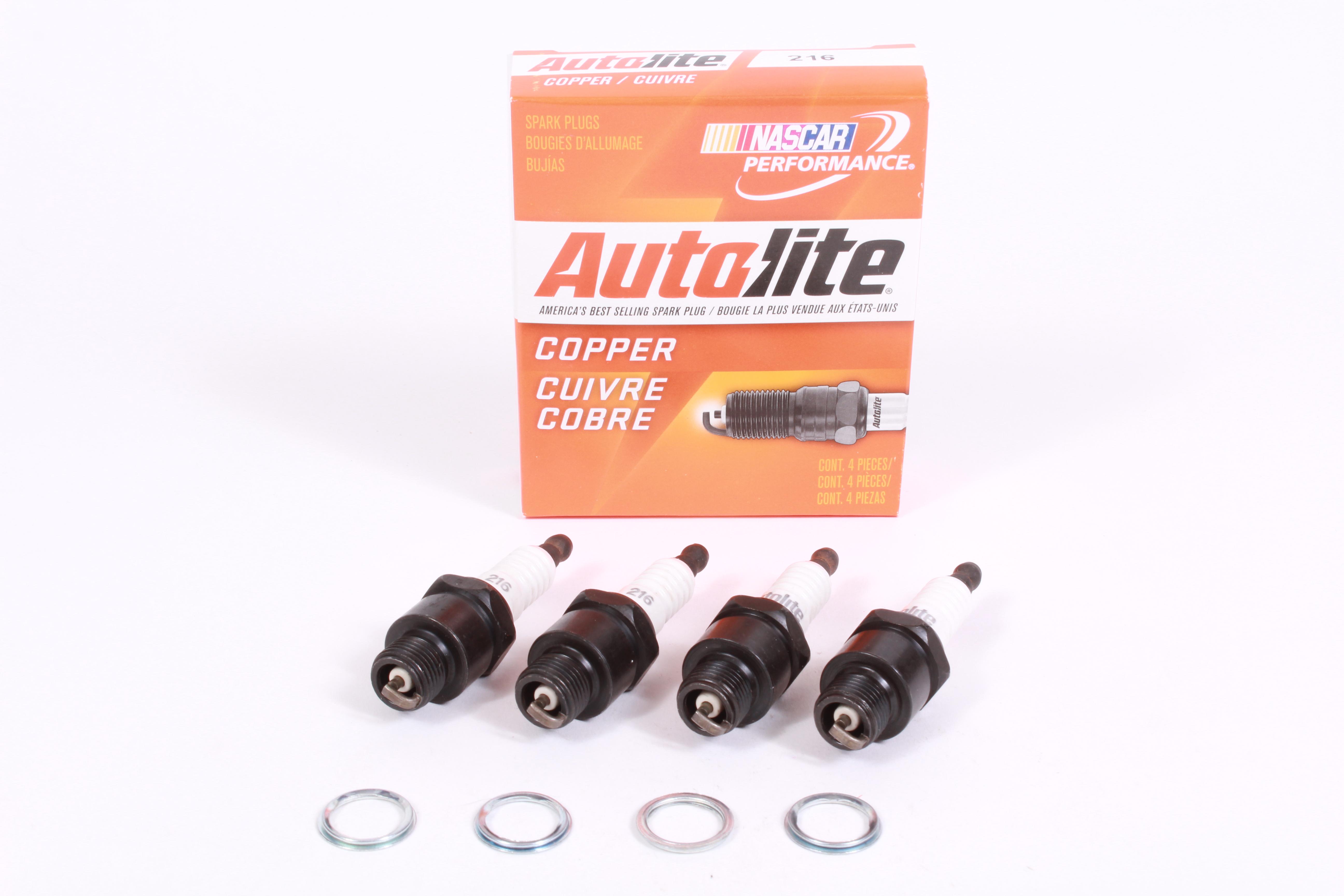 """Box of 4 Autolite 216 Copper Non-Resistor Spark Plugs 14mm Thread 7//16/"""" Reach"""