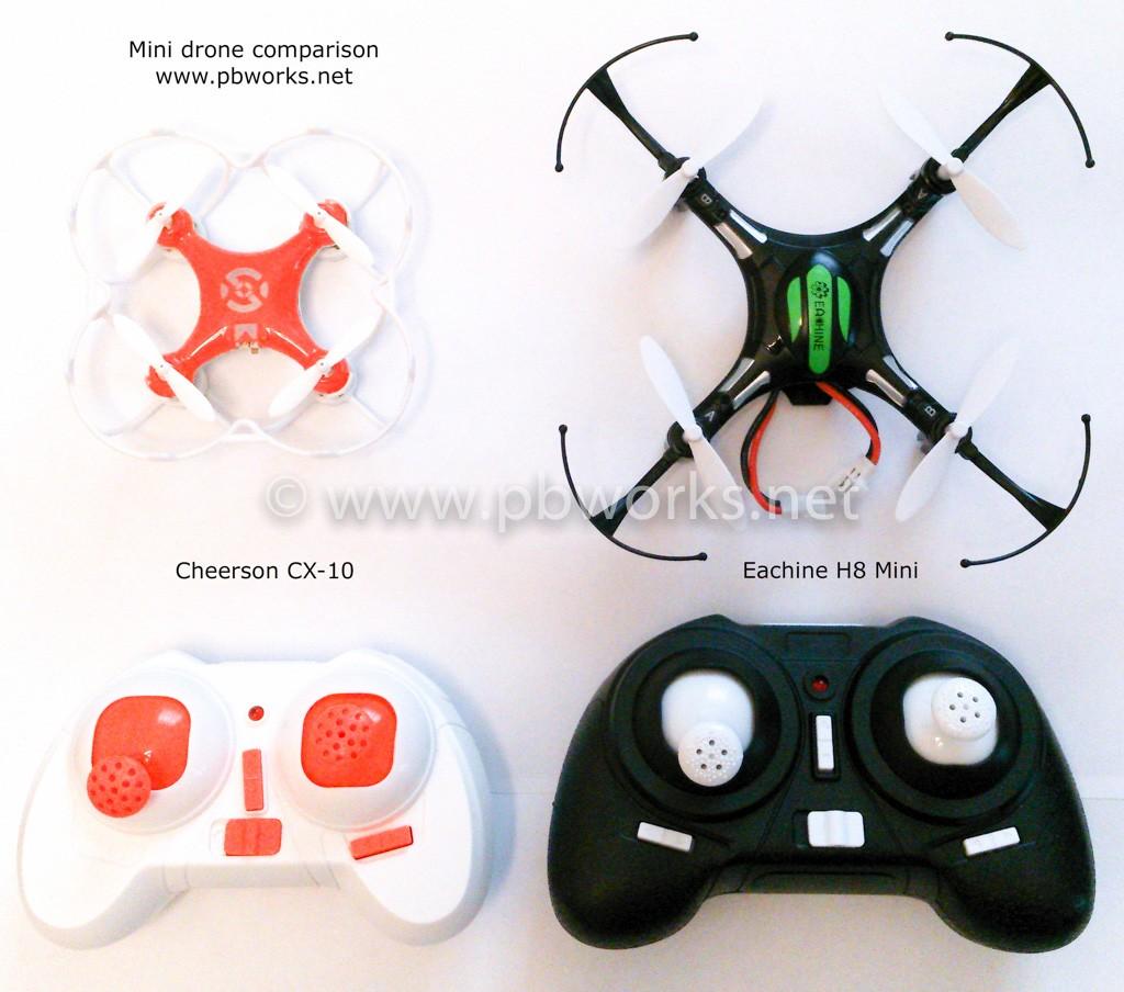 Comparison_mini_drones_Cheerson_CX-20_vs_Eachine_H8_Mini