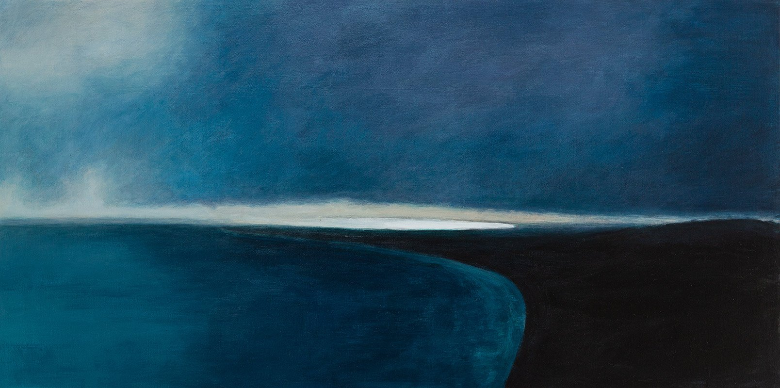 Gerda Leenards, here comes the ocean kapiti,  2019, 760 x 1520mm acrylic on canvas