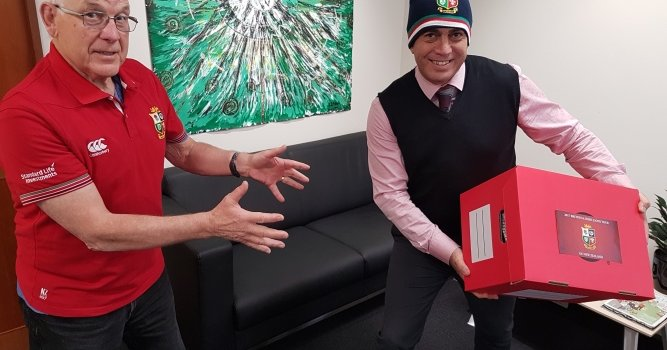 News - Lions gear - Mayor Mike Tana and Denys Latham