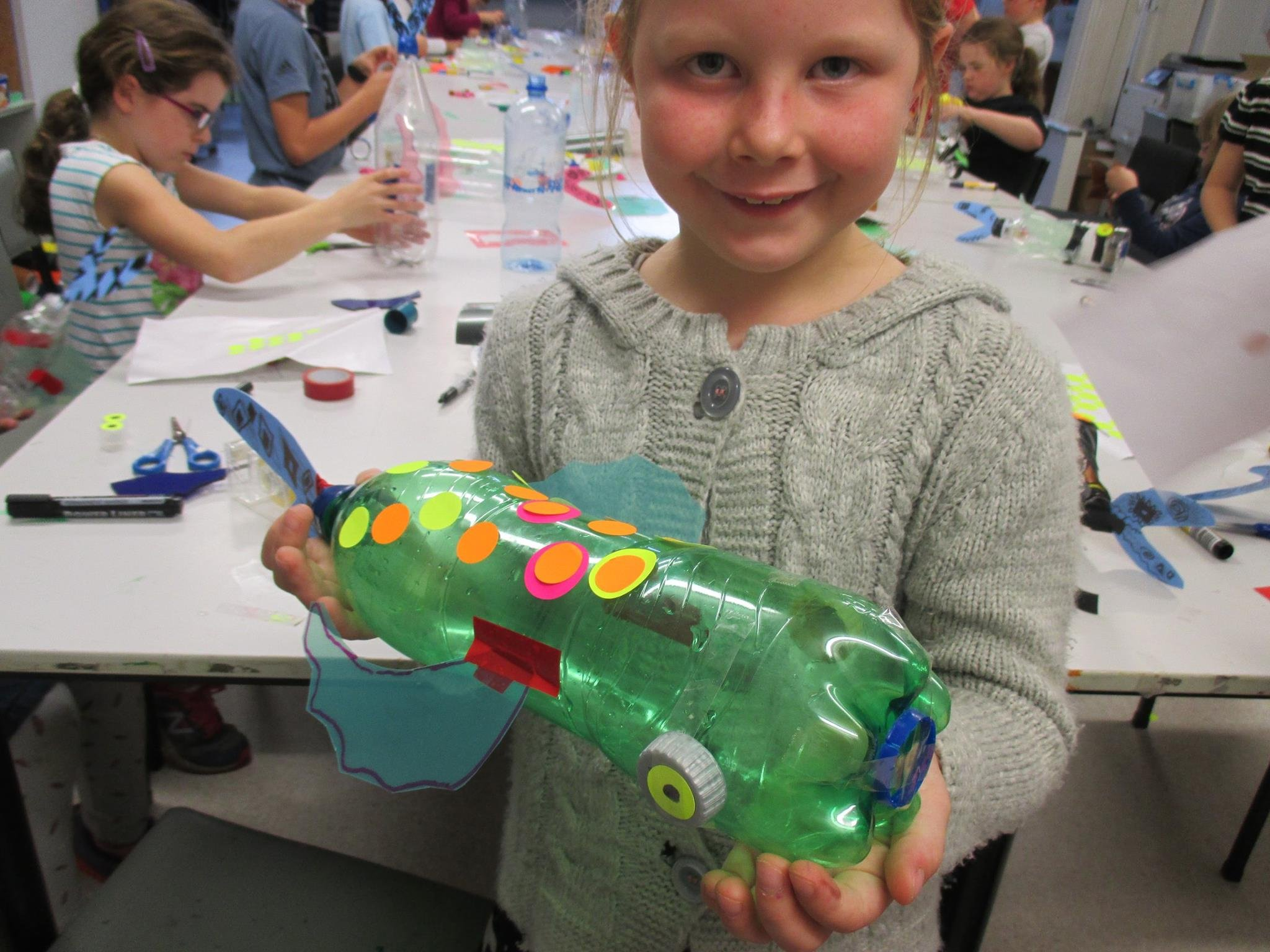 Sustainability - a fish made from found materials inspired by George Nukus Bottled Ocean