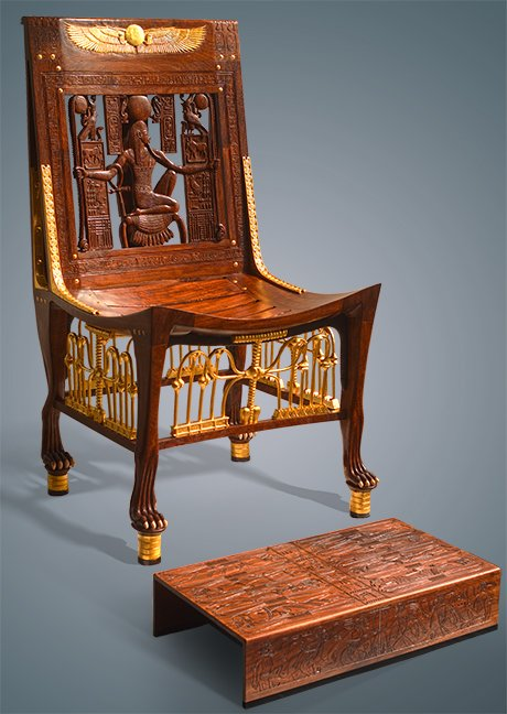Tutankhamen's chair and footstool