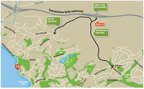 Transmission Gully Link Roads map