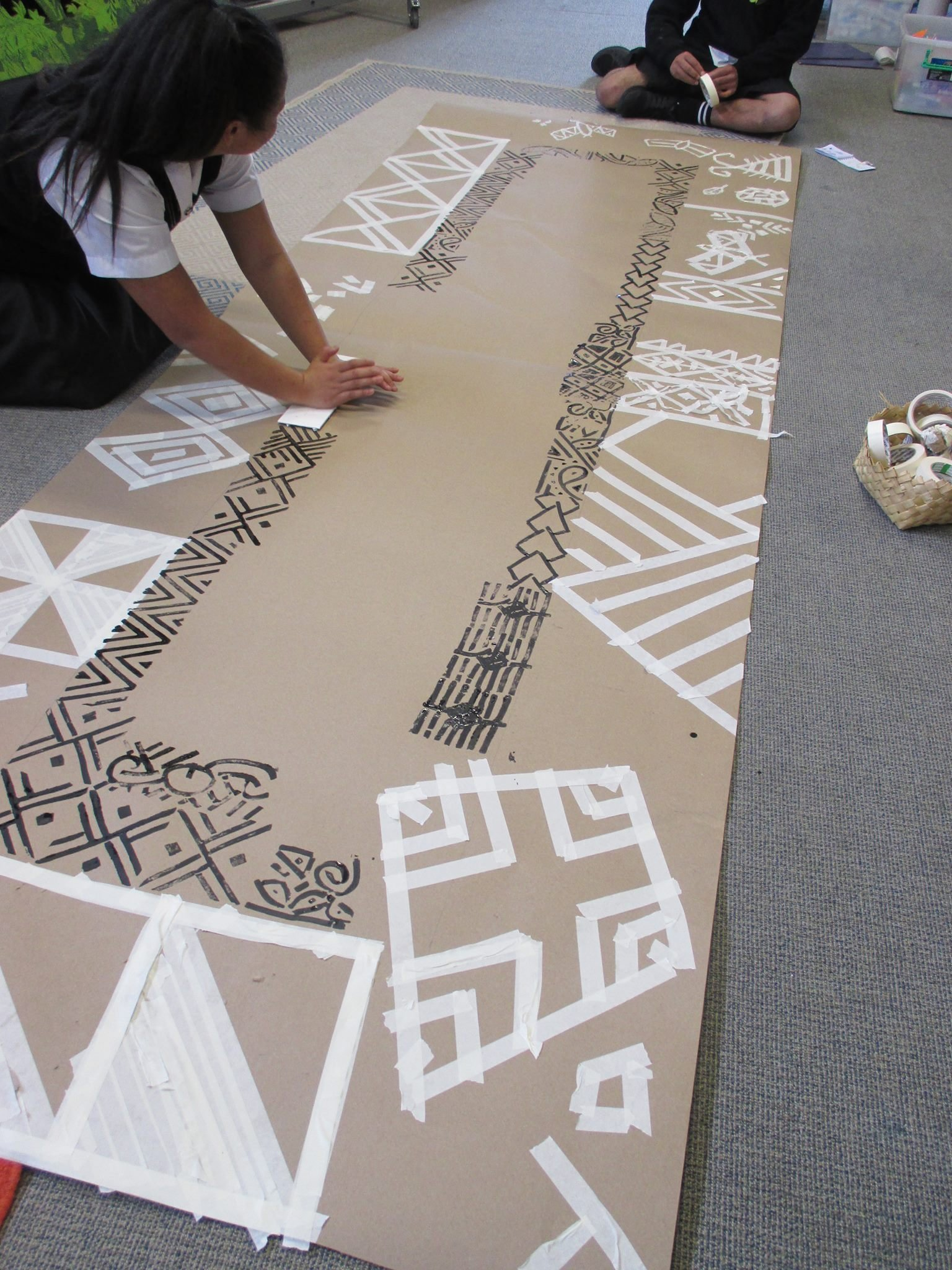 Working on our art in Pasifika school programme