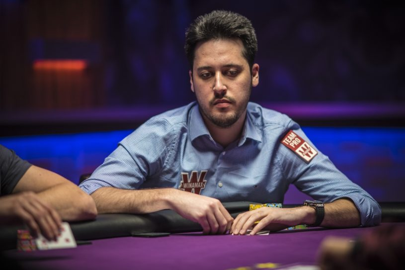 Adrian Mateos in action during the 2018 Super High Roller Bowl.