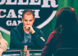 Andrew Robl in action during the 2018 Super High Roller Cash Game at the PokerGO Studio.
