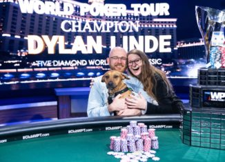 Dylan Linde with his girlfriend Alyssa and their dog River after he took down the biggest tournament of his career. (Photo courtesy of the WPT.)