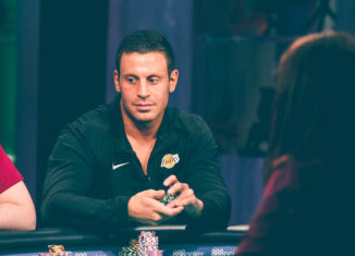 Garrett Adelstein in action during the 2018 Super High Roller Bowl Cash Game on PokerGO.