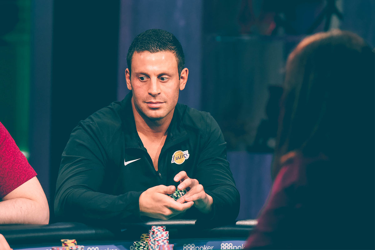 Garrett Adelstein in action during the 2018 Super High Roller Bowl Cash Game on PokerGO.