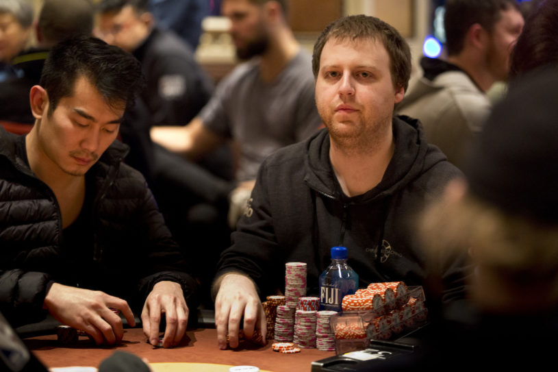 Joe McKeehen is near the top of the counts headed into the penultimate day of the biggest ever WPT Five Diamond. (Photo courtesy of the WPT.)