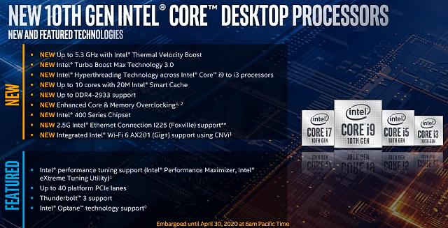Intel Core i9-10900K: Deset jader Comet Lake až na 5,3 GHz