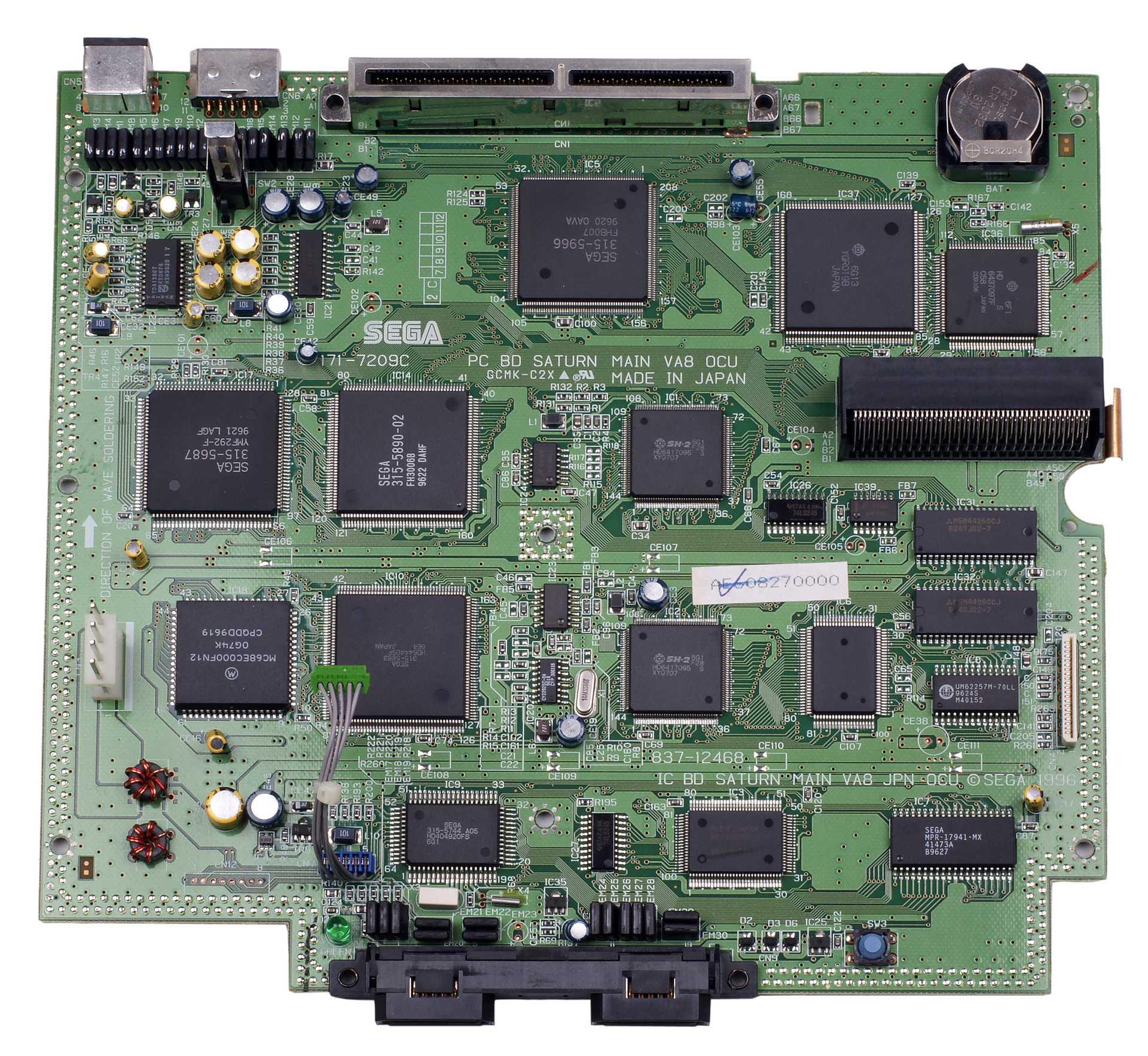 Rozložení procesorů na motherboardu Sega Saturn (zdroj: Wikimedia Commons)