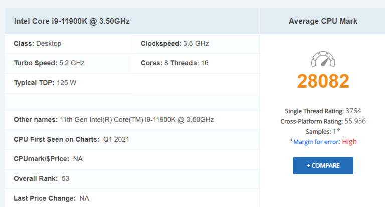 Intel Core i9-11900K kraluje single-thread výkonu benchmarku PassMark