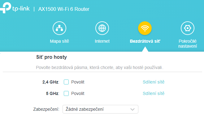 Spuštění sítě pro hosty