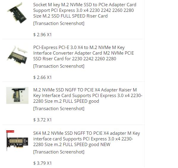 Redukce do PCIe pro M.2 disk