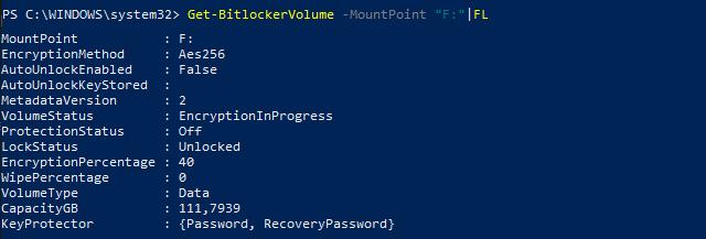 """Get-BitLockerVolume -MountPoint """"F:"""" FL"""