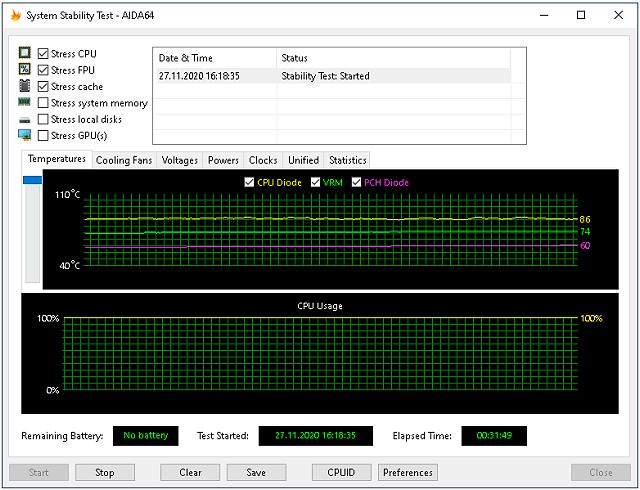 Teplota VRM a PCH čipu po 30 minutách zátěže