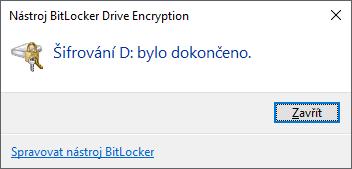 Šifrování dokončeno