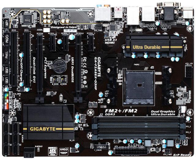 Gigabyte představil ATX základní desku F2A88X-D3HP s paticí FM2+ a osmi porty SATA