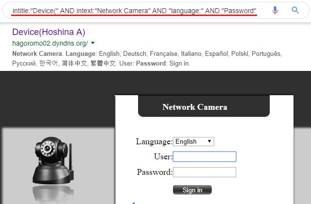 Vyhledání všech webových kamer určitého typu
