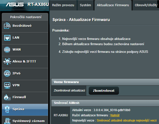Aktualizace firmware