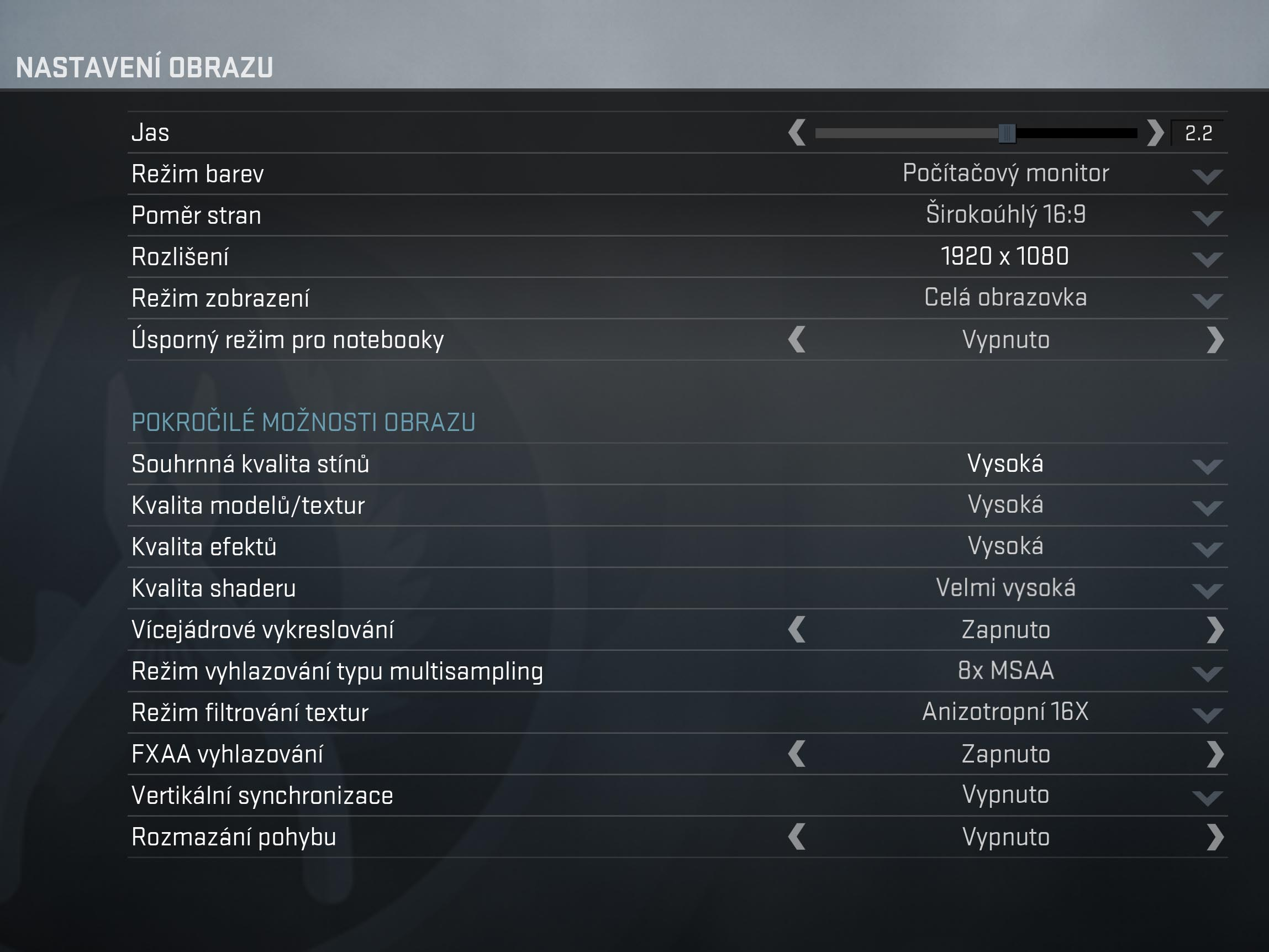 CS:Gloal Offensive nastavení detailů