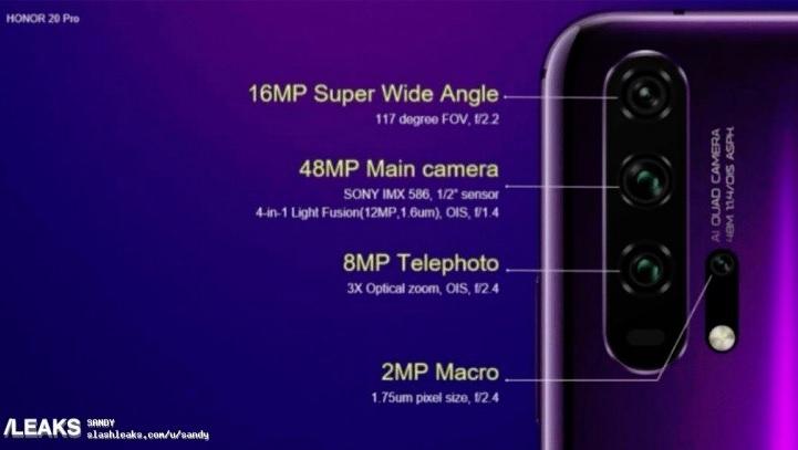 Honor 20 Pro dostane fotoaparát s rekordní světelností