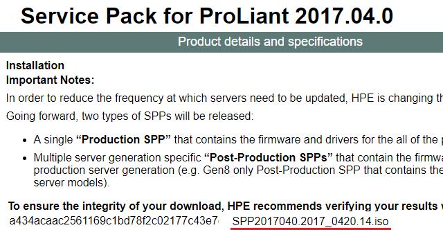Seznam SPP (Service Pack for ProLiant)